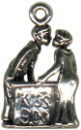 Kissing with Boy and Girl Booth 3D Sterling Silver Charm Pendant