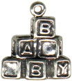 Baby Blocks Sterling Silver Charm Pendant