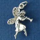 Fairy Dancing and Playing a Flute 3D Sterling Silver Charm Pendant