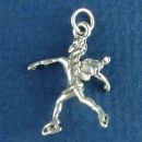 Ice Skating Guardian Angel Charm Sterling Silver Pendant