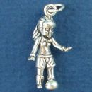 Soccer, Little Girl Kicking a Soccer Ball 3D Sterling Silver Charm for Bracelet