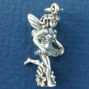 Fairy Running Though Flowers 3D Sterling Silver Charm Pendant