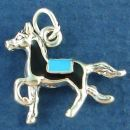 Horse Trotting with Black and Turquoise Enamel Accents 3D Sterling Silver Charm Pendant