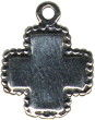 Cross with Beads Medium Sterling Silver Charm Pendant