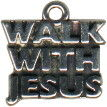 Religious Christian Walk With Jesus Word Sterling Silver Charm Pendant