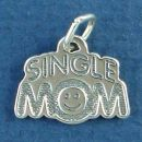 Single Mom Word Phase Sterling Silver Charm Pendant