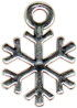 Snowflake Winter 3D Sterling Silver Charm for Bracelet or Necklace Pendant