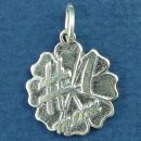 #1 Mom Word Phrase on Flower Design Sterling Silver Charm Pendant