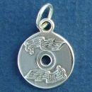 Music CD with Musical Note Design 3D Sterling Silver Charm Pendant