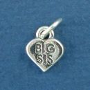 Sister, Big Sis Word Phase on Sterling Silver Heart Charm Pendant