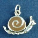 Snail with Brown Enamel Accent 3D Sterling Silver Charm Pendant