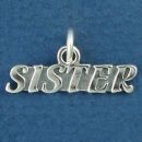 Sister Sterling Silver Word Phase Charm Pendant