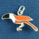 Tropical Bird with Black, Orange and White Enamel Accents 3D Sterling Silver Charm Pendant