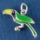 Tropical Bird with Black, Green and Yellow Enamel Accents 3D Sterling Silver Charm Pendant