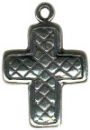 Cross with Quilted Design Sterling Silver Charm Pendant