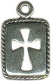 Cross Cut Out on Rectangle Plate Sterling Silver Charm Pendant
