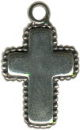 Cross with Beaded Edge Sterling Silver Charm Pendant