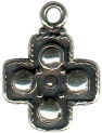 Cross Small Square with Four Circles Sterling Silver Charm