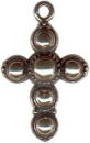 Cross Large with Circles Sterling Silver Charm Pendant