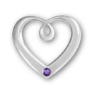 Heart Sterling Silver Charm Pendant in Modern Design with Amethyst Crystal Birthstone for February