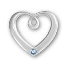 Heart Sterling Silver Charm Pendant in Modern Design with Aquamarine Crystal Birthstone for March