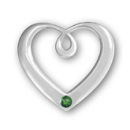 Heart Sterling Silver Charm Pendant in Modern Design with Emerald Crystal Birthstone for May