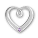 Heart Sterling Silver Charm Pendant in Modern Design with Alexandrite Crystal Birthstone for June