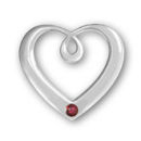Heart Sterling Silver Charm Pendant in Modern Design with Ruby Crystal Birthstone for July