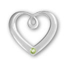 Heart Sterling Silver Charm Pendant in Modern Design with Peridot Crystal Birthstone for August