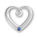 Heart Sterling Silver Charm Pendant in Modern Design with Sapphire Crystal Birthstone for September