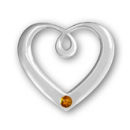 Heart Sterling Silver Charm Pendant in Modern Design with Topaz Crystal Birthstone for November