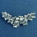 Christmas Holly Leaf Sterling Silver Charm Pendant