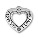 Heart Affirmation Sterling Silver Charm Pendant with Word Phrase I Love You