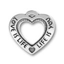 Heart Affirmation Sterling Silver Charm Pendant with Word Phrase Love is Life, Life is You