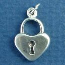Heart Love Lock 3D Sterling Silver Charm Pendant