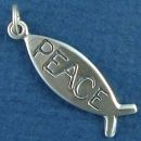 Religious Ichthus Christian Fish Symbol with Word Phase Peace Sterling Silver Charm Pendant