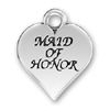 Wedding, Maid of Honor Word Phrase on Sterling Silver Heart Charm Pendant