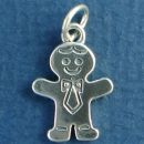 People: Father or Dad Family Member Wearing a Tie Sterling Silver Charm Pendant