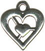 Heart in Heart Medium Sterling Silver Charm Pendant