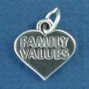 Family Values Word Phrase on Heart Sterling Silver Charm Pendant