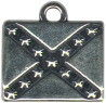 Confederate Rebel Flag Sterling Silver Charm Pendant