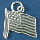 United States of America Flag Medium Sterling Silver Charm Pendant