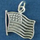 United States of America Flag Medium with Pole Sterling Silver Charm Pendant