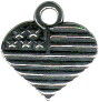 United States Flag on Heart Sterling Silver Charm Pendant