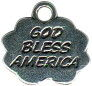 God Bless America Word Charm and Message Phrase Sterling Silver Charm Pendant