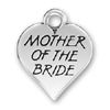 Wedding, Mother of the Bride Word Phrase on Sterling Silver Heart Charm Pendant