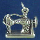 Sewing Machine Antique 3D Sterling Silver Charm Pendant