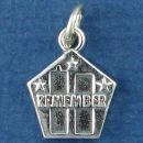 Tour: World Trade Center on Pentagon with Word Phase Remember Sterling Silver Charm Pendant