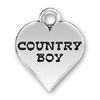 Country Boy Word Phrase on Sterling Silver Heart Charm Pendant