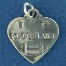 Football, I Love Football Heart Sports Sterling Silver Charm Pendant Double Sided